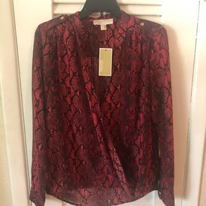 NWT Michael Kors red/black snakeskin print blouse